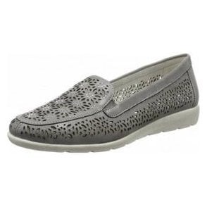 D1918-42 Grey Laser Cut Loafer Shoe