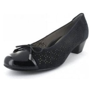33668-02 Navy Suede With Navy Patent Toe Pump