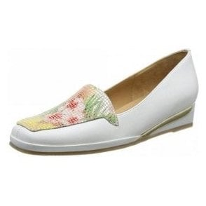 Verona III Tropical Flower Print / White Wedge Shoe