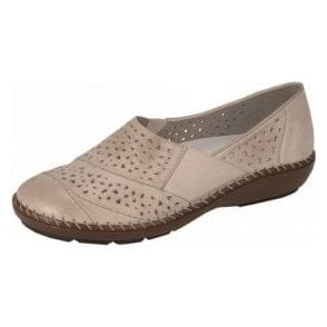 44856-60 Beige Leather Comfort Shoe