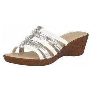 Elletra White & Platino Open-Toe Sandals