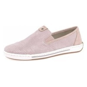 L3051-31 Pink Suede Leather Ladies Slip On Shoe