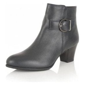 Genevieve Navy Leather Ankle Boot