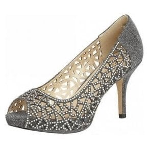 Flink Pewter Textile & Diamante Open-Toe Shoes
