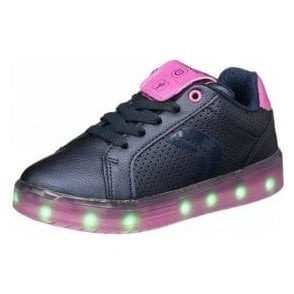 J Kommodor G J744HA Navy / Fuchsia Girls Trainer with Flashing Lights