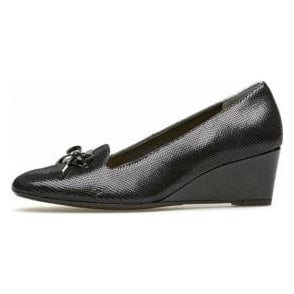 Culpeper Black Reptile Print Wedge Shoe