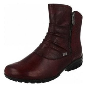 Z4663-35 Dark Red Leather Twin Zip Water Resistant Ankle Boot