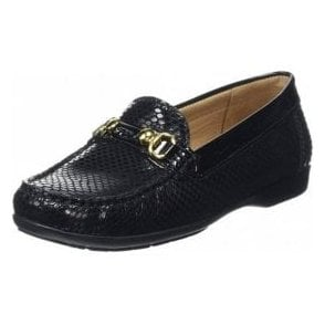 Ashfield Black Python Print / Patent Loafer Moccasin Shoe