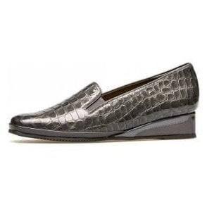 Rochester II Storm Grey Patent Croc Wedge Shoe