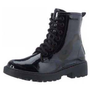 J Casey G J5420K Navy Glitter Patent Girls Boot