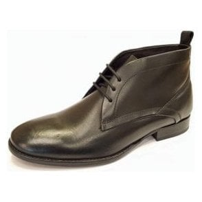 Deacon Black Leather Lace Chukka Boot