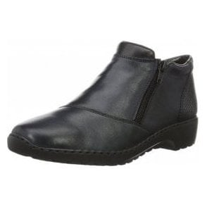 L6091-15 Navy Leather Twin Zip Ankle Boot