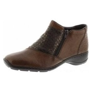 58359-25 Brown Leather / Croc Twin Zip Ankle Boot