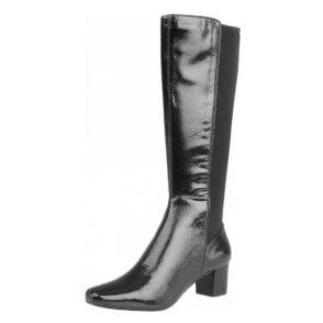 Dorada Black Shiny Snake Knee-High Heeled Boots