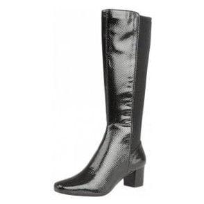Dorada Black Shiny Snake Knee-High Heeled Boots