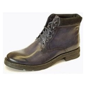 Panzer Washed Navy Blue Leather Boot