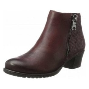 D3187-35 Bordeaux Leather Ladies Ankle Boot