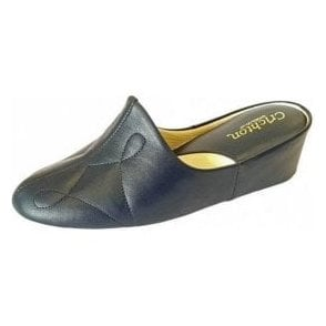 Dulcie 7312 Navy Leather Ladies Slipper