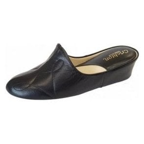 Dulcie 7312 Black Leather Ladies Slipper