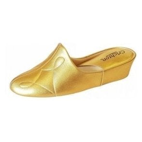Dulcie 7312 Gold Leather Ladies Slipper