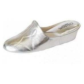 Dulcie 7312 Silver Leather Ladies Slipper
