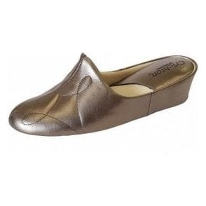 Dulcie 7312 Pewter Leather Ladies Slipper