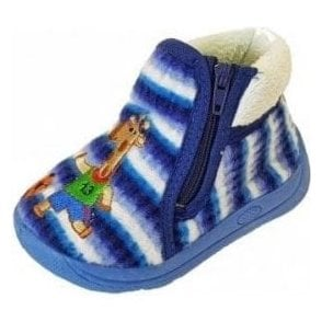 Safari Blue Fabric Boys Slipper