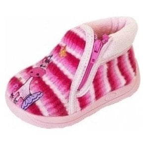 Safari Pink Fabric Girls Slipper