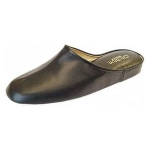 Gavin Black Leather Mens Slipper