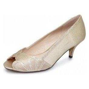 Dalia FLR470 Chanpagne Satin Lower Heeled Peep Toe Court Shoe