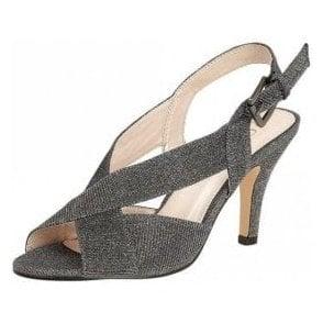 Endive Pewter Textile Open-Toe Sling-Back Shoes