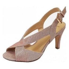 Endive Pink Textile Open-Toe Sling-Back Shoes