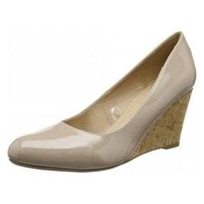 Jelico Nude Patent Wedge Shoe