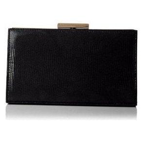 Zinnia Black Reptile Leather Handbag