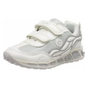 J Shuttle G J8206C White / Silver Girls Trainer Shoe with Lights
