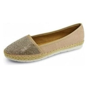 Hudson Beige Pump With Diamante Encrusted Toe