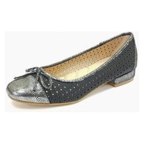 Hendrix JLY039 Black With Silver Toe Cap Pump Shoe