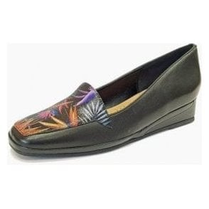 Verona III Paradise Print / Black Leather Wedge Shoe