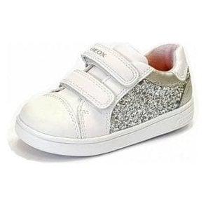 DJRock G E Silver / White Girls Trainer Shoe