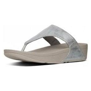 Lulu Toe-Thong Silver Shimmer Print Sandal