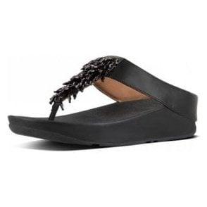 Rumba Toe Thong Black Ladies Sandal