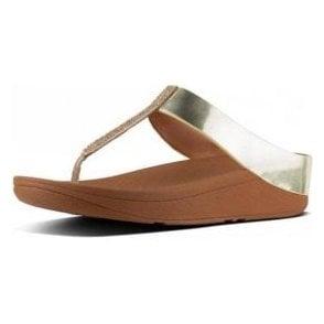 Fino Crystal Toe Thong Gold Sandal