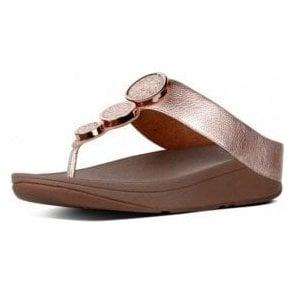 Halo Rose Gold Leather Sandal