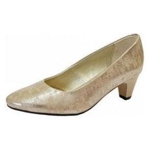 Jane Metallic Reptile Court Shoe