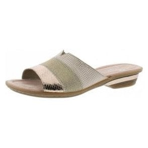 63425-90 Rose Gold / Beige Combination Mule Sandal