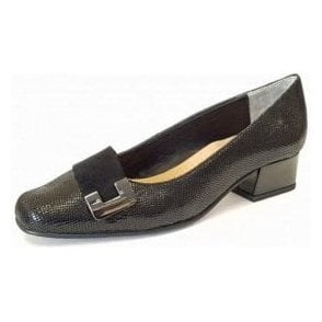 Duchess Black Reptile Print / Suede Court Shoe