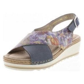 R6051-12 Blue Multi Leather Wedge Sandal