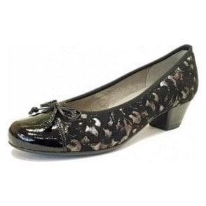 63606-78 Black Crinkle Patent Toe Cap With Floral Pump Shoe