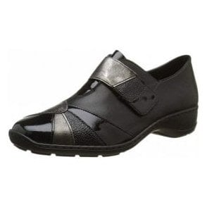 58361-00 Black Leather Combi Velcro Shoe