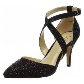 Star Black & Diamante Court Shoes
